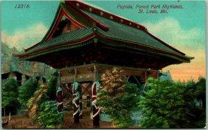 1910s St. Louis, Missouri Postcard PAGODA, Forest Park Highlands Acmegraph