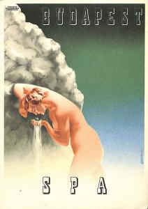 Budapest Spa Advertising Poster Type  Postcard Nude Woman