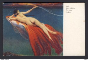 Nude woman riding back of goldfish with enormous fan like tail Prof. Kich Muller