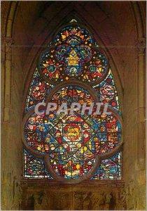 Modern Postcard Cathedral of Reims Rose Petit Bas Portal North Coast