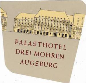 GERMANY AUGSBURG PALASTHOTEL DREI MOHREN VINTAGE LUGGAGE LABEL