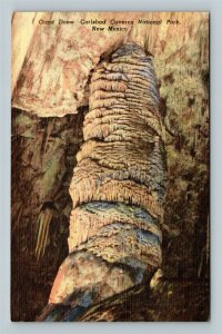 Carlsbad Caverns National Park NM, Giant Dome, New Mexico Linen Postcard