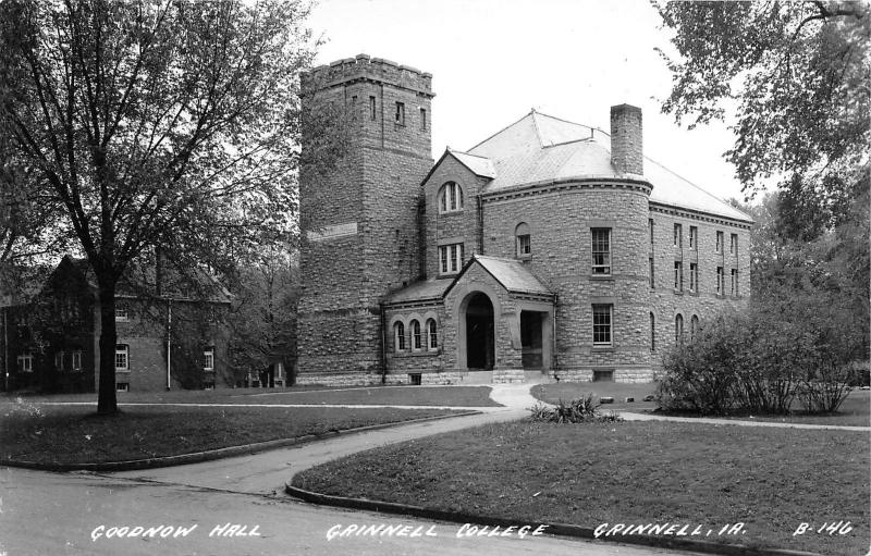 Grinnell Iowa~Grinnell College~Goodnow Hall~Square Tower~1940s RPPC Postcard