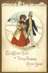 Ellen Clapsaddle New Year - Fancy Couple Walking in Snow c1910 Postcard