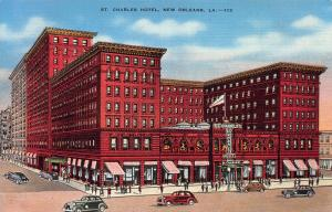 St. Charles Hotel, New Orleans, Louisiana, Early Linen Postcard, Unused