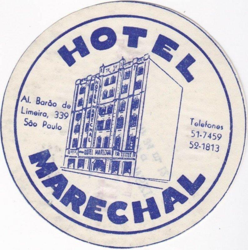 Brasil Sao Paulo Hotel Marachal Vintage Luggage Label lbl0191