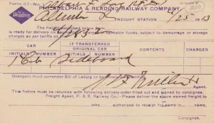 PHILADELPHIA & Reading Railway Company , 1913 ; Notice Postcard