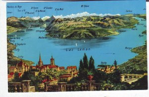 P1320 postcard unused switzerland birds eye view lac leman towns & mountains