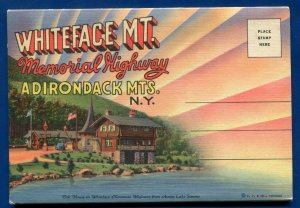 Whiteface MT Mountain New York ny Memorial Highway postcard folder