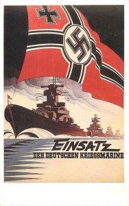 Postcard Advertising battle ship flag world war II germany sea sailing