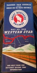 Vintage 1965 Great Northern Railway Western Star Train Schedule Booklet