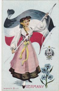 German woman holding flag, coat of Arms, Flower, GERMANY, 00-10s