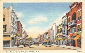 Main Street West Johnson City New York linen postcard