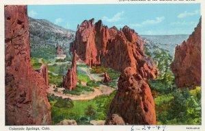 Postcard Panorama Of The Garden of the Gods Colorado Springs.