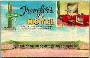 Corning, AR Postcard TRAVELER'S MOTEL / ESSO Gas Station Route 67 Roadside Linen