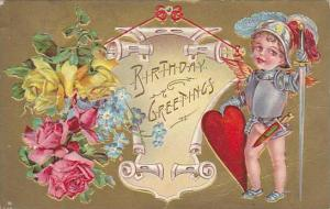 Birthday Greetings, Boy dresssed as medeval knight with red heart shield,  re...