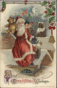 Christmas - John Winsch Santa Claus Black Doll & Teddy Bear Postcard EXC COND