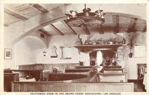 1930s Postcard; California Room, Brown Derby Restaurant Los Angeles Wilshire CA