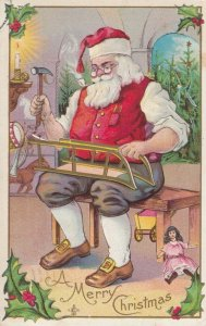 CHRISTMAS, 1907 ; Santa Claus Building Toy Sled