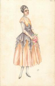 Italian artist signed U. M. postcard glamour lady fancy dress