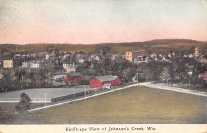 Johnson's Creek Wisconsin~Panorama~Y Into Town~Barns~Stores~Homes~1911 Postcard