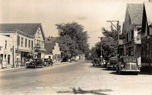 Howland ME Main Street Post Office Rexall Drug Storefronts Old Cars RPPC