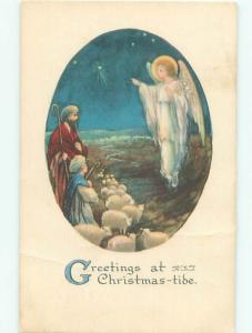 Pre-Linen Christmas religious ANGEL APPEARS TO THE SHEPHERDS AB5656