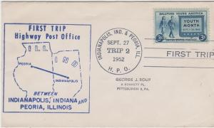 FIRST TRIP HIGHWAY POST OFFICE mail between Indianapolis, IN & Peoria, IL, 1952