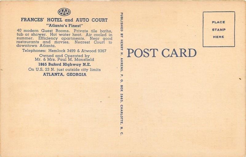 Atlanta Georgia~Frances Auto Court~Front View~House~Buford Hwy~1940s