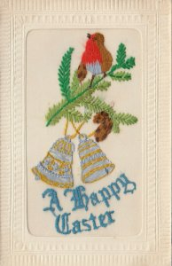 Hand Sewn, 1900-10s; A Happy Easter, Robin and silver bells