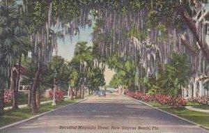 Florida New Smynra Beautiful Magnolia Street Curteich