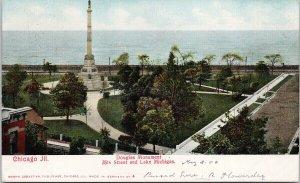Chicago IL Douglas Monument c1906 Jamaica Queens NY Postmark Postcard F14