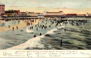 New Jersey Atlantic City Bathing Near Steeplechase Pier 1907