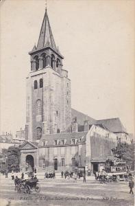 PARIS, France, 1900-1910´s; L'Eglise Saint Germain Des Pres, Horse Carriages