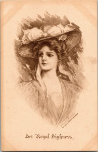 Beautiful Woman Her Royal Highness Artist Mary La Fenetra Russell Postcard A02