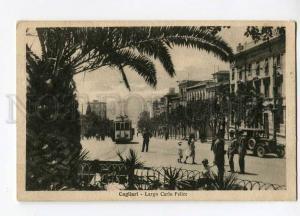 271134 ITALY CAGLIARI Largo carlo Felice TRAM CAR Vintage PC