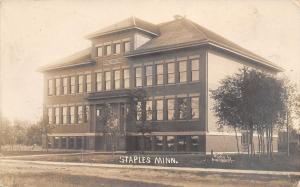 Staples Minnesota~Lincoln School~Going to Church, Played Billiards? RPPC 1910