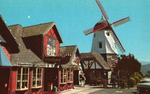 Vintage Postcard Quaint Danish Styled Windmills Bakeries Foods Solvang CA