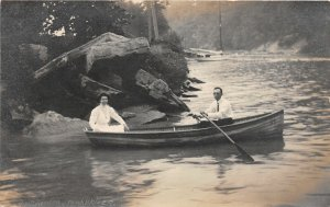 F66/ Rocky River Ohio RPPC Postcard c1911 Rocky River Boaters Man Woman