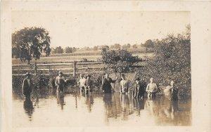F82/ Occupational RPPC Postcard c1910 Pond Fishing Anglers Nets 14