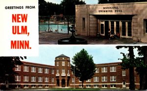 Minnesota New Ulm Greetings With Municipal Swimming Pool & Centennial Hall Ma...