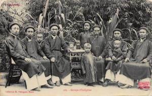 Indo-China, Group of 10 Indochinese People, Real Photo Postcard, Used in 1908