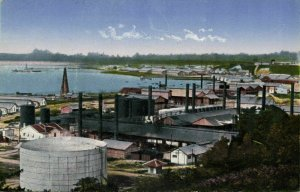 indonesia, BORNEO BALIKPAPAN, View on the Factories and Bay (1910s) Postcard