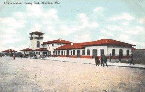 Meridian Mississippi Union Station Looking East Vintage Postcard AA10739