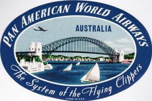 Pan American World Airways To Australia Vintage Airline Label lbl0123