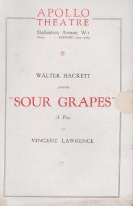 Sour Grapes Constance Cummings Walter Hackett Drama Apollo London Theatre Pro...