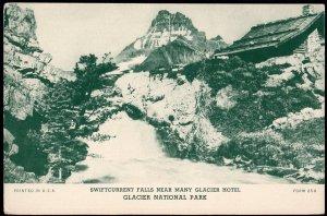 41320) MT GLACIER NATIONAL PARK Swiftcurrent Falls Many Glacier Hotel Blank Back
