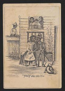 VICTORIAN TRADE CARD Stock Card Black Couple 'They All Do It'
