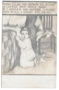 Gassaway Artist Signed Postcard Now I Lay Me Down To Sleep