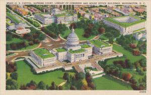 Aerial ViewUnited States Capitol Building Supreme Court and Library of Congre...